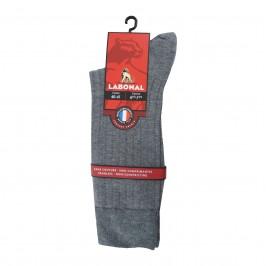 Mi-Chaussettes unies à côtes coton / cachemire grises - ref :  34029 3200