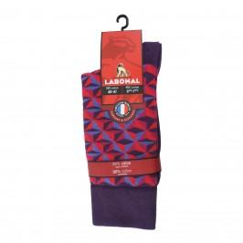 Mi-Chaussettes coton, sans couture, prune - ref :  34312 9950