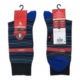 Mi-Chaussettes Fil d'écosse, fines rayures colorées noir/bleu - ref :  31347 8105