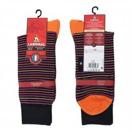Mi-Chaussettes Fil d'écosse, fines rayures colorées noir/orange - ref :  31347 8950