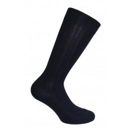Mi-Chaussettes unies à côtes laine et soie marine - LABONAL 38545 1000