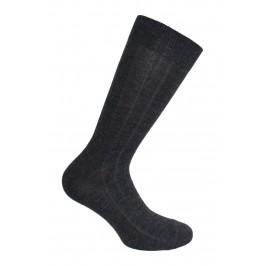 Mi-Chaussettes unies à côtes laine et soie grises - ref :  38545 3000