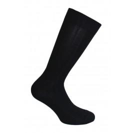 Mi-Chaussettes unies à côtes laine et soie noires - ref :  38545 8000