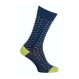 Chaussettes effet jean pois vert indigo brut - LABONAL 34593 1040