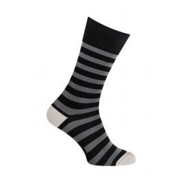 Chaussettes - Moyennes rayures colorées coton - noir - LABONAL 34591 8000