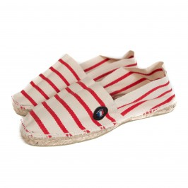 Espadrilles rayées made in france écru rouge - LABONAL 99064-2490