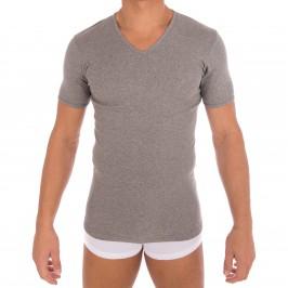 T-shirt 318 pur coton manches courtes col en V gris chiné - ref :  0318 6600