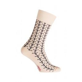 MI-CHAUSSETTES Ancres marin coton - Sans couture écru - LABONAL 34755 2400