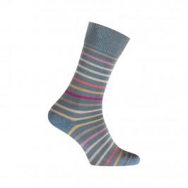 MI-CHAUSSETTES Rayures multicolores effet jean coton - Sans couture - Bleu indigo - LABONAL 34766 1100