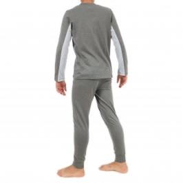 Pyjama uni col V gris - EDEN PARK E502F23 927