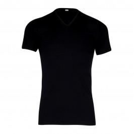 T-shirt 318 pur coton manches courtes col en V noir - ref :  0318 0007
