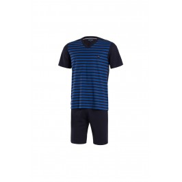 251915bee92 Blue striped pyjacourt - Eden Park : sale of Short pajamas for men ...
