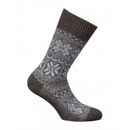 MI-CHAUSSETTES Grosses mailles motifs norvégien bicolores Alpaga et Acrylique Marron - LABONAL 35256-5000