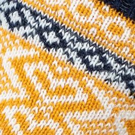 MI-CHAUSSETTES Grosses mailles motifs norvégien multicolores Acrylique et Laine Bleu - LABONAL 37088-1661