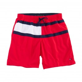 Short de bain Tommy medium drawstring drapeau - rouge - TOMMY HILFIGER UM0UM01857-XL7