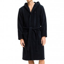 Pure Cotton Hooded Bathrobe - navy - TOMMY HILFIGER 2S87905573-416