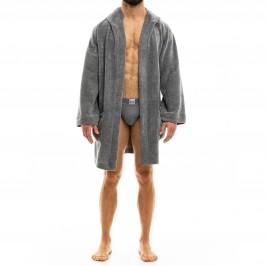 Smooth Knit - Robe de chambre avec capuche grise - MODUS VIVENDI 09052 CHARCOAL