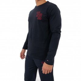 Long Sleeve Monogram Pyjama Set - navy - TOMMY HILFIGER UM0UM01963-0A6