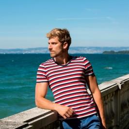 T-shirt V rayures tricolores - GARÇON FRANÇAIS T-SHIRT17 BBR