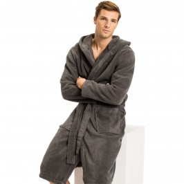 Pure Cotton Hooded Bathrobe - grey - TOMMY HILFIGER 2S87905573-884