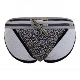 Leopard Stripe - grey swimsuit - ADDICTED ADS268-C15