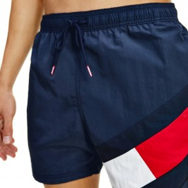 Flag Drawstring Mid Length Slim Fit Swim Shorts - navy - TOMMY HILFIGER UM0UM02048-DW5