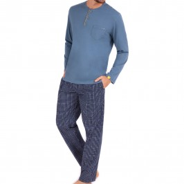 Long T-neck pajamas for men Enigma Eminence - blue - EMINENCE LP70 2323