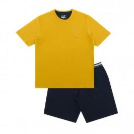 Pyjama court col rond homme Fait en France Eminence - jaune et marine - EMINENCE 7U81 7961