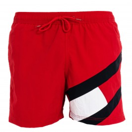 Flag Drawstring Mid Length Slim Fit Swim Shorts - red - TOMMY HILFIGER UM0UM02048-XLG