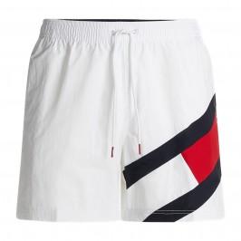 Flag Drawstring Mid Length Slim Fit Swim Shorts - white - TOMMY HILFIGER UM0UM02048-YBR