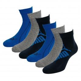 Lot de 3  paires de chaussettes PUMA Graphic Quarter - navy gris et bleu - PUMA 261091001-523