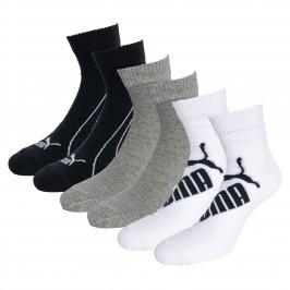Lot de 3  paires de chaussettes PUMA Graphic Quarter - blanc gris et noir - PUMA 261091001-325