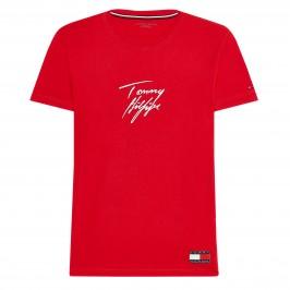 Signature Logo Organic Cotton T-Shirt - red - TOMMY HILFIGER UM0UM01787-XLG