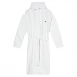 Peignoir en coton à tissage alvéolé - blanc - TOMMY HILFIGER UM0UM01965-YBR-per