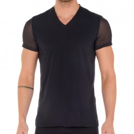 T-shirt Col V Loulou - noir - HOM 402363-0004