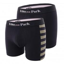 Lot of 2 grey and plain striped boxers - EDEN PARK E658G19-K99