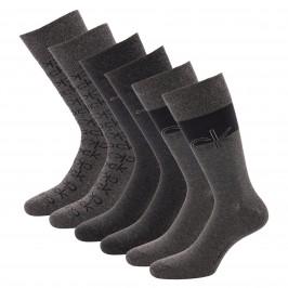 Lot de 3 paires de chaussettes avec logo - noir et gris - CALVIN KLEIN 100004543-002