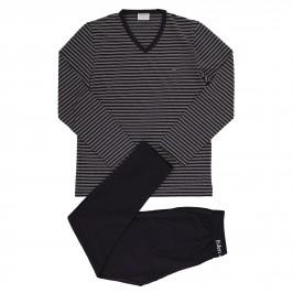 Pyjama Eden Park coton bio rayé - gris - EDEN PARK E501G67-039