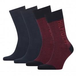 2-Pack Rib-Knit Logo Socks navy - TOMMY HILFIGER 701210535-002