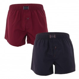2-Pack Woven Organic Cotton Boxer Shorts - Burgundy and navy - TOMMY HILFIGER UM0UM02188-0SD - per