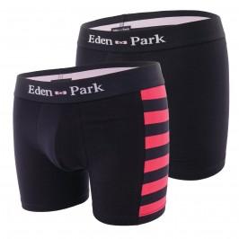 Lot de 2 boxers rayés Eden Park - rose et uni - EDEN PARK E658G19-F90