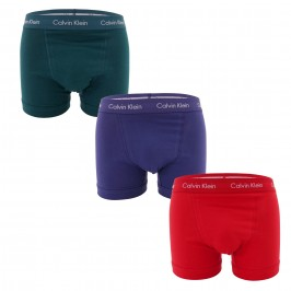 Set of 3 Boxers Cotton Stretch - green, blue and red - CALVIN KLEIN U2662G-WIE