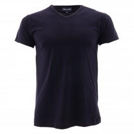 Tee-Shirt Uni col V noir - EDEN PARK E351E60 039